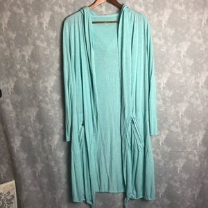 Soft surroundings long blue open front cardigan